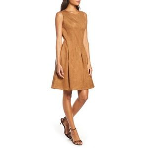Roz & Ali Pleated Suede Fit n Flare Dress Size 10p